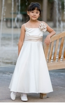Ivory Bridal Satin Flower Girl Dress or Party Dress - Champagne Rose