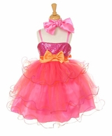 Girls Party Dress  - Pink and Orange Tulle Dress SOLD OUT