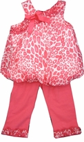 Toddler Girls Capri Sets -  Coral Cheetah Bubble Top &  Leggings 2T