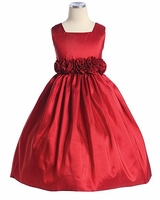 Girls RED Dress - Flower Waist Taffeta  sold out