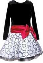 Girls Fancy Dress - Black and White Velvet Bow Dress  sold out