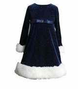Blue Velour Sparkle Dress with White Fur Trim  sold out