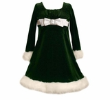 Green Velour SquareBow with Buckle Dress 5  - 6X