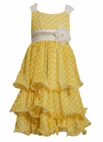 Bonnie Jean - Yellow Chiffon Dot Dress Size 5