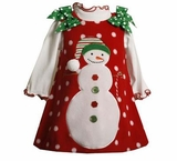 Red Snowman Jumper Dress with Bows   SOLD OUT