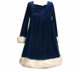 Girls Dress - Blue Velour Sparkle Dress with Fur Trim sold out