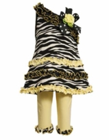 Bonnie Jean - Yellow Zebra One Shoulder Capri Set