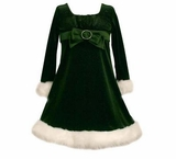 Girls Christmas Dress -  Green Velour Infant to Girls 16