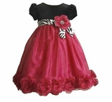 Girls Holiday Dress  - Bonnie Jean Fuchsia and Black Dress