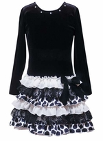 Girls Party Dress - Black Ruffle Drop Waist  SOLD OUT