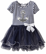 Infant Navy Stripe Anchor Tutu Dress  sold out fn