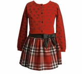 Red Cardigan and Girls Skirt