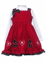 Girls Red Pinafore Dress Black Dot Scotties   SIZE  4 LAST ONE