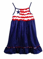 Ruffle Star Print Navy Dress Size 5