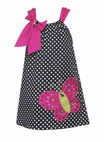 Black and White Dot Woven Butterfly Dress  2T