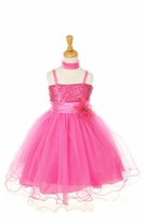 Beautiful Fuchsia Sequin Tulle Ballerina Style Dress    CLEARANCE
