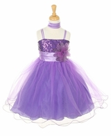 Girls Formal Dress - Purple Sequined  CLEARANCE