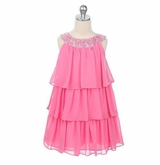 PINK Chiffon Tiered Girls Dress with Sequins Girls Size