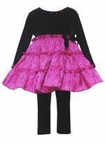 Girls Black Velvet /Fuchsia Party Pants Set