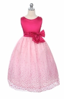 Fuschia to Pink Sparkle Flocked Tulle Dress   sold out
