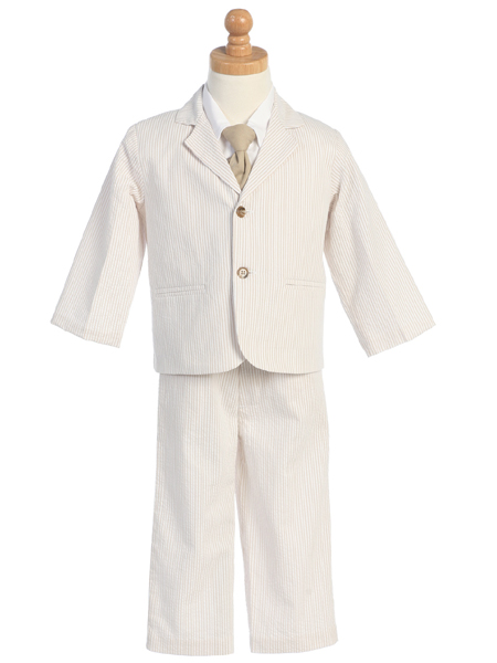 LITO Boys Suit - Khaki Striped Seersucker Pant Suit   6 at Sears.com
