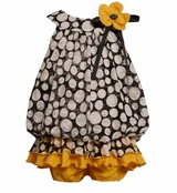 Infant Girls Black and Yellow Dot Tunic and Party Bloomers sold out