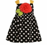 Bonnie Jean Toddler Sundress Black Dot Sunset Flower  SOLD OUT