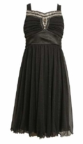 Girls Black Dress - Bonnie Jean Black Chiffon and Sequin Special Occasion Dress