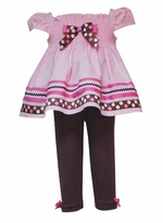 Pink Woven Dress Set with Brown Leggings -  SOLD OUT