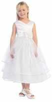 White Satin Bodice  Flower Girl Dress  2 - 12