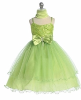 Girls Party Dresses - Apple Green Sparkle Mesh  SOLD OUT