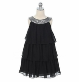 Black Chiffon Tiered Girls Dress