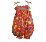 Orange Smocked Bubble Party Pant