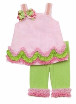 Rare Editions Pink And Lime Eyelet Legging Set   SOLD OUT