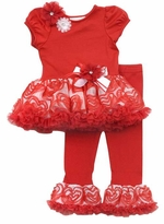 My Little Valentine - Red/ White Flower Tutu Legging Set