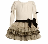 Bonnie Jean Tiered Leopard Ivory Dress