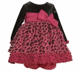 Infant Dress Bonnie Jean Fuchsia Leopard Print Dress