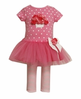 Bonnie Jean Infant Girls Outfit - Cluster of Rose Tulle Tunic/Pant Set-SOLD OUT