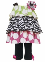Multi Color Tiered Zebra Dress with Leggings