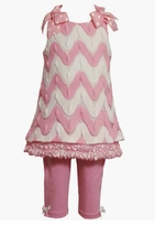 Bonnie Jean - Pink and White Chevron Knit Pant Set  SOLD OUT