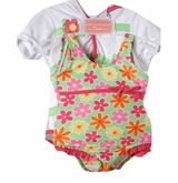 Infant or Toddler Girls Green Daisy Swimsuit and Robe Set - sold out