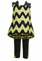 Bonnie Jean - Black and Green Chevron Knit Pant Set