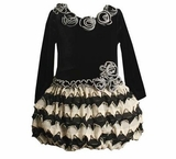 Black and White Ruffle Rose Dress Infant or Toddler Size