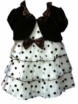 Brown and White Tiered Dot Dress with Panty