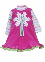 Infant or Toddler Holiday Dress  - Fuchsia Snowflake -  2T