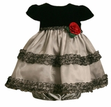 Grey and Black Infant Dress with Rose SALE!