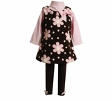 Brown and Pink Fleece Flower Jumper Pant Set  SOLD OUT