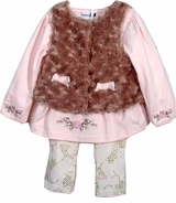 Vitamins Baby - Girls Faux Fur Vest & Pant Set - sold out