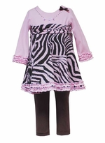 Pink Zebra Print Tunic & Legging Set 12 month