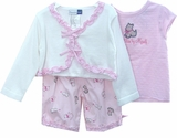 Infant Clothes - Pink Ruffles And Puppy - FINAL SALE CLEARANCE